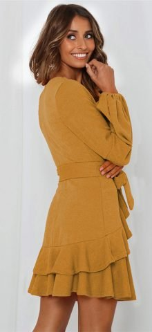 Hualong Cute V Neck Wrap Brown Long Sleeve Ruffle Dress