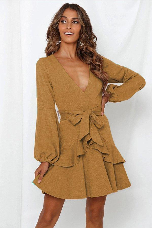 Hualong Cute V Neck Wrap Brown Long Sleeve Ruffle Dress