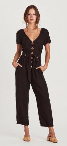 Hualong Cute Wrap Short Sleeve Black Button Up Jumpsuit
