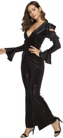Hualong Elegant Long Sleeve V Neck Black Sequin Pantsuit