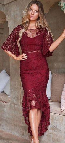 Hualong Elegant Short Sleeve Lace Burgundy Prom Dress