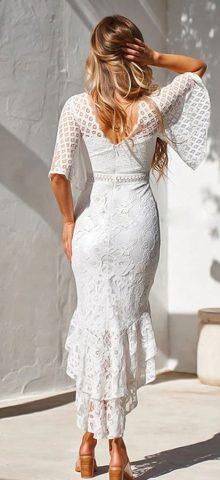 Hualong Elegant Short Sleeve White Lace Prom Dresses