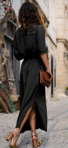 Hualong Half Sleeve V Neck Black Button Down Dress