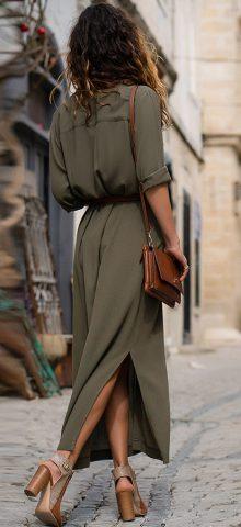 Hualong Half Sleeve V Neck Green Button Front Maxi Dress