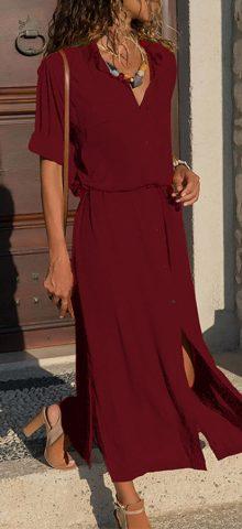 Hualong Half Sleeve V Neck Wine Long Button Down Dress