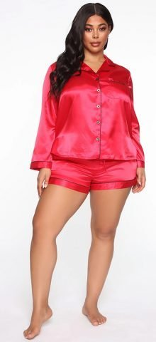 Hualong Long Sleeve Button Top With Short Pants Plus Size Sleep Wear