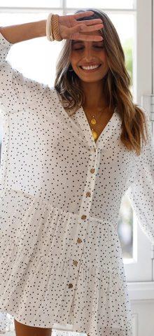 Hualong Long Sleeve Polka Dot White Button Down Dress