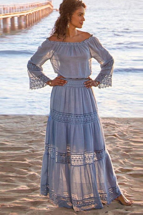 Hualong Off The Shoulder Blue Long Sleeve Lace Maxi Dress