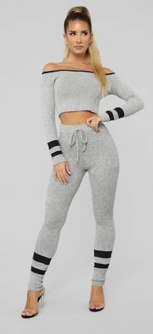 Hualong Sexy Bodycon Long Sleeve Gray Womens Workout Outfits