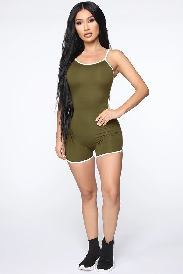 Hualong Sexy Bodycon Sleeveless Brown Green Spaghetti Strap Romper