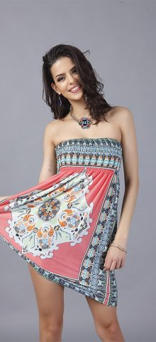 Hualong Sexy Floral Printed Strapless Summer Dress