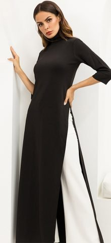 Hualong Sexy High Neck Half Sleeve Black Long Dress With Split