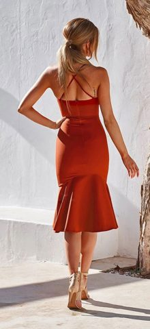Hualong Sexy Off The Shoulder Red Spaghetti Strap Dress