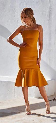 Hualong Sexy Off The Shoulder Yellow Spaghetti Strap Dress