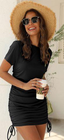 Hualong Sexy Round Neck Short Sleeve Black Short Bodycon Dress