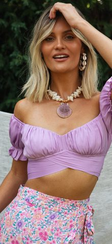Hualong Sexy V Neck Puff Sleeve Purple Off The Should Crop Top