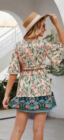 Hualong Sexy V Neck Short Sleeve Floral Beach Dress