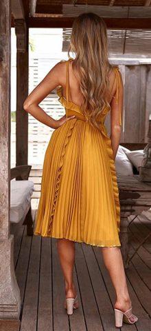 Hualong Sexy V Neck Short Yellow Spaghetti Strap Dress