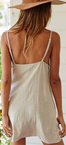 Hualong Sexy V Neck Sleeveless Linen Spaghetti Strap Dress