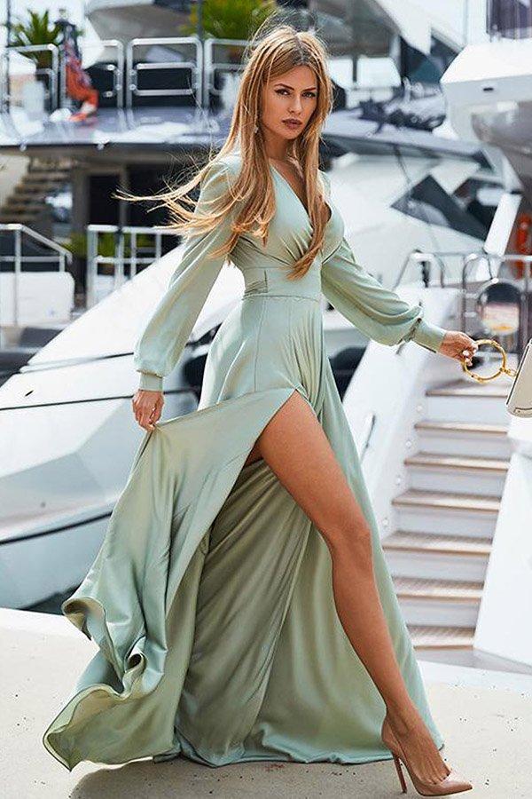 Hualong Sexy V Neck Wrap Green Long Sleeve Casual Maxi Dress