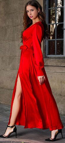 Hualong Sexy V Neck Wrap Red Long Sleeve Maxi Dress