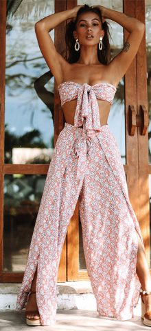 Hualong Strapless Top With High Pant Cute Beach Outfits