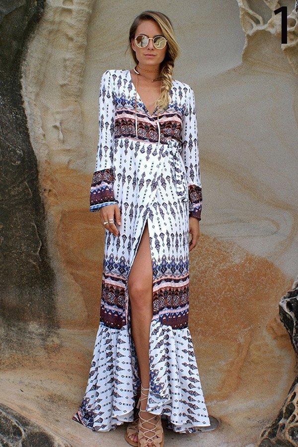 Hualong V Neck Long Sleeve Printed Cute Beach Dresses