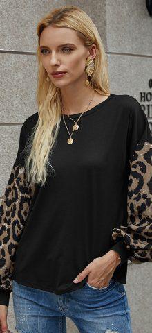 Hualong Cute Leopard Printed Womens Long Sleeved T Shirts