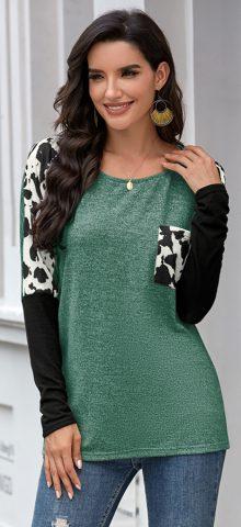 Hualong Cute Long Sleeve Green Leopard Print Tee Shirt