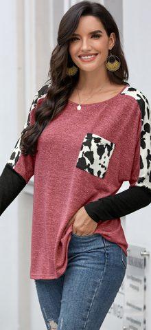 Hualong Cute Long Sleeve Round Neck Wine Leopard Tee Shirt