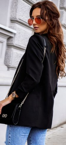 Hualong Cute Open Front Long Sleeve Ladies Black Blazer