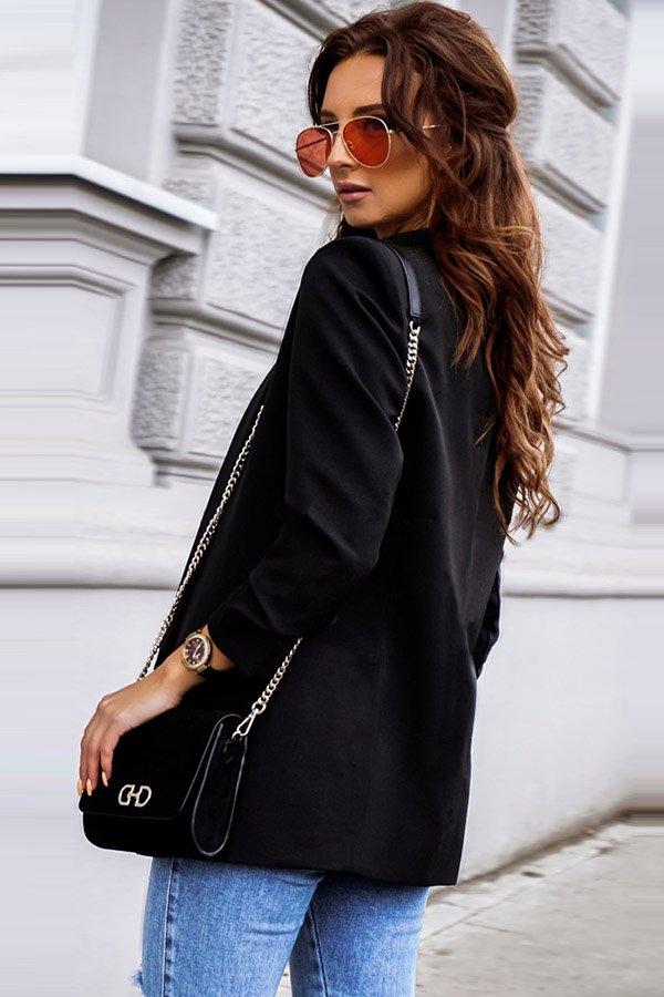 Hualong Cute Open Front Long Sleeve Ladies Black Blazer