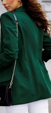 Hualong Cute Open Front Long Sleeve Ladies Green Jacket