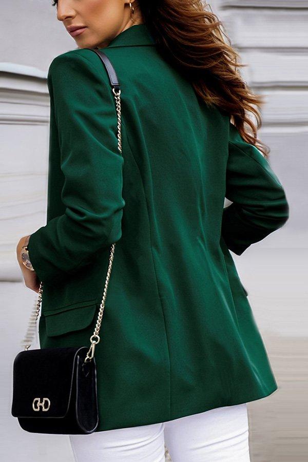 Hualong Cute Open Front Long Sleeve Ladies Green Jacket