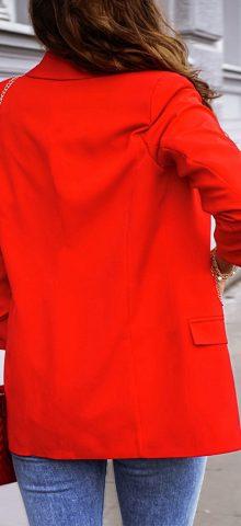 Hualong Cute Open Front Long Sleeve Ladies Red Blazer