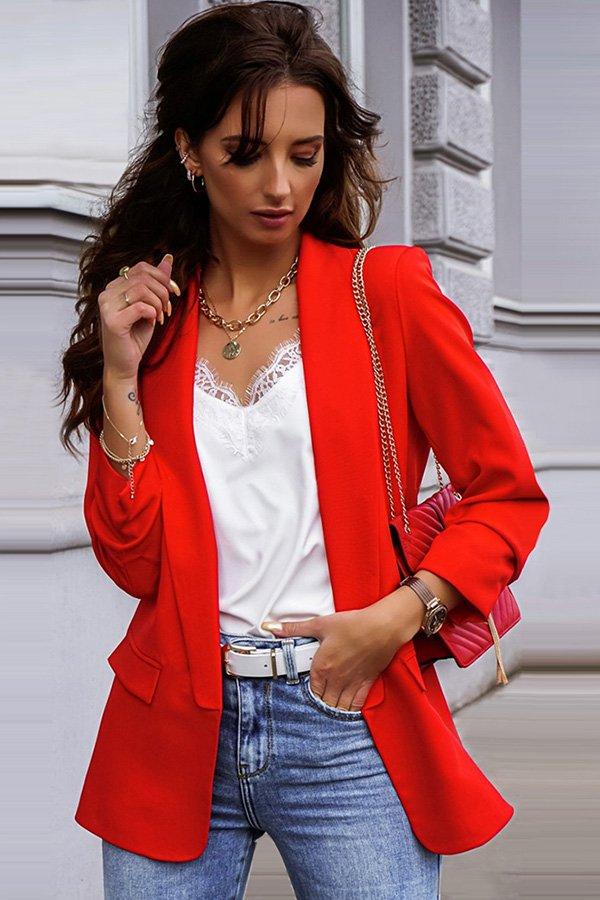 Hualong Cute Open Front Long Sleeve Ladies Red Blazer