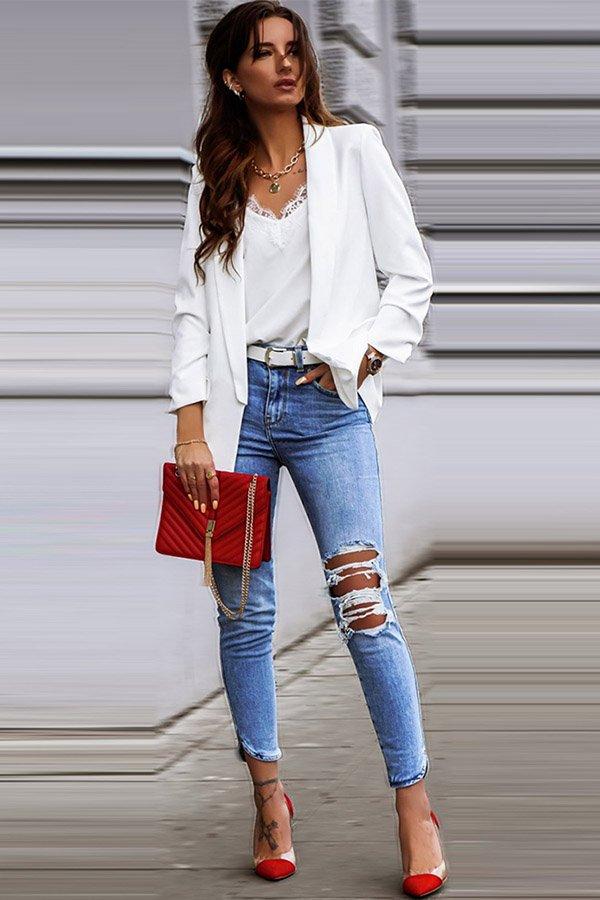 Hualong Cute Open Front Long Sleeve Woman White Blazer