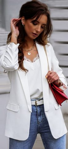 Hualong Cute Open Front Long Sleeve Woman White Blazer