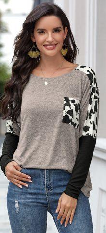 Hualong Cute Round Neck Gray Leopard Print Long Sleeve T Shirt