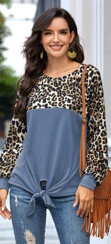 Hualong Cute Round Neck Leopard Blue Ladies Long Sleeve T Shirts
