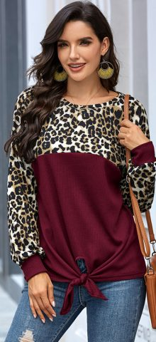 Hualong Cute Round Neck Leopard Burgundy Long Sleeve T Shirts For Girl