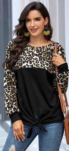 Hualong Cute Round Neck Leopard Womens Black Long Sleeve Shirts