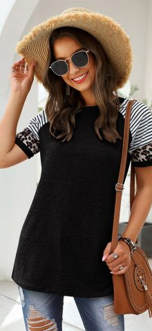 Hualong Cute Women Black Short Sleeve Free People Leopard Tee