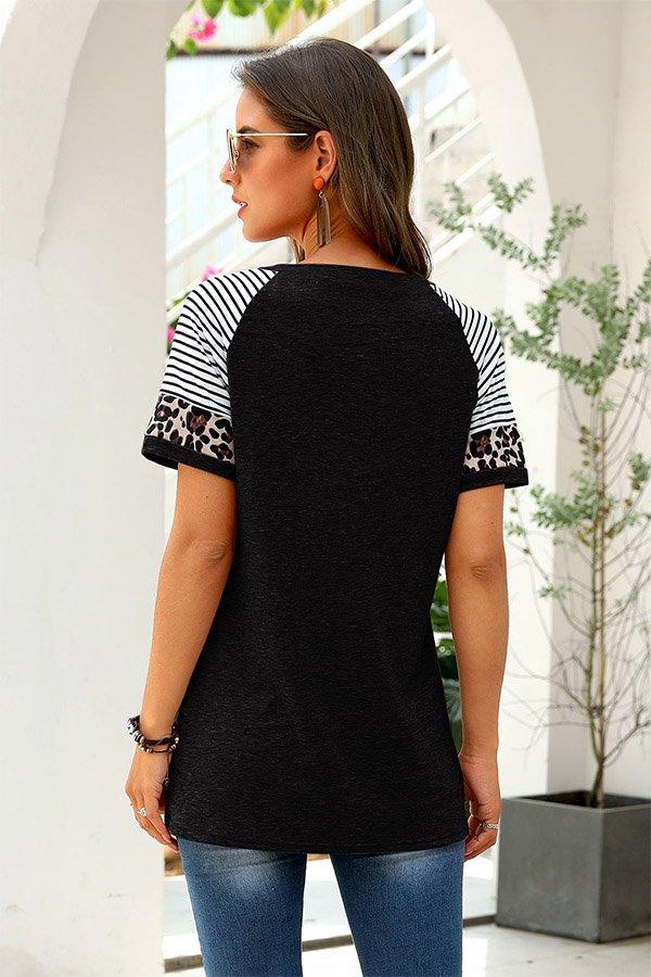 Hualong Cute Women Black Short Sleeve Free People Leopard Tee