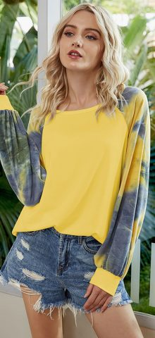 Hualong Cute Women Color Printed Yellow Long Sleeve Tunic Tee