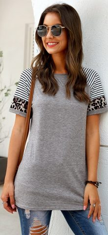 Hualong Cute Women Gray Short Sleeve Leopard Print Tee