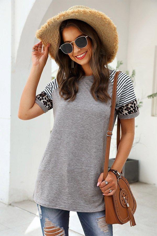 Hualong Cute Women Gray Short Sleeve Leopard Print Tee