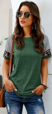 Hualong Cute Women Green Leopard Printed Short Sleeve Tunic Tee