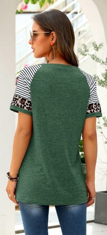 Hualong Cute Women Green Leopard Printed Short Sleeve Tunic Tee