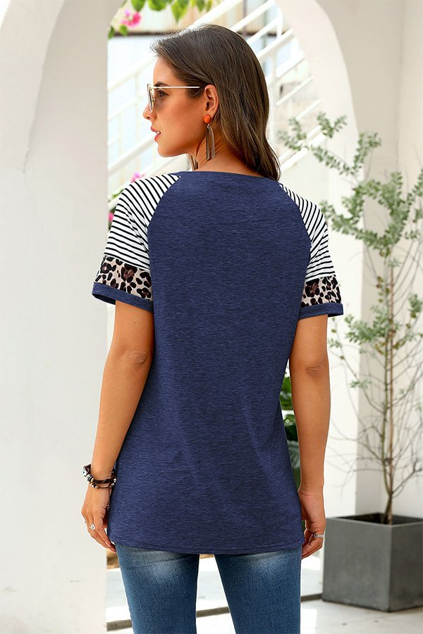 Hualong Cute Women Navy Blue Leopard Short Sleeve Tee Shirt